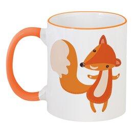 """Кружка с цветной ручкой и ободком """"Лисичка"""" - животные, лиса, лисичка"""