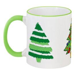 """Кружка с цветной ручкой и ободком """"Йолки!"""" - новый год, green, в подарок, зеленый, new year, ёлка, christmas tree, ёлки"""
