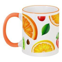 """Кружка с цветной ручкой и ободком """"Фруктовая"""" - фрукты, апельсин, напитки, лимон, сок"""