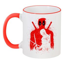"""Кружка с цветной ручкой и ободком """"Deadpool"""" - комиксы, marvel, deadpool, марвел, дэдпул"""