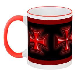 """Кружка с цветной ручкой и ободком """"Красный крест"""" - металл, рокер, байкеру, железный крест, байкерский символ"""