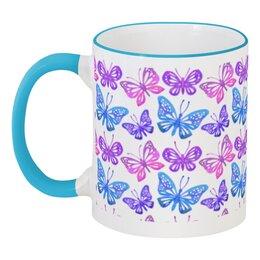 """Кружка с цветной ручкой и ободком """"Бабочки"""" - красиво, бабочки, ярко, природа"""