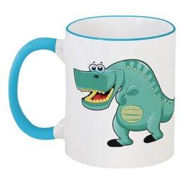 """Кружка с цветной ручкой и ободком """"Забавный  динозавр"""" - динозавры, динозавр, животное, динозаврик"""