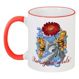 """Кружка с цветной ручкой и ободком """"Пчёлки и цветок"""" - лето, цветы, друзья, дружба, пчела"""