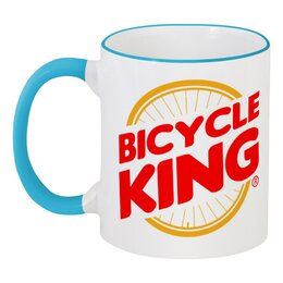 """Кружка с цветной ручкой и ободком """"Велосипедный король"""" - велосипед, велосипедный король, бургер кинг"""