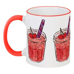 """Кружка с цветной ручкой и ободком """"Фруктовая"""" - фрукты, стакан, коктейль, бокал, соки"""