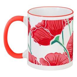 """Кружка с цветной ручкой и ободком """"Красные маки"""" - красиво, цветы, ярко, природа, маки"""