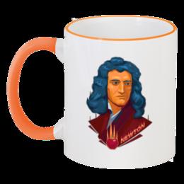 """Кружка с цветной ручкой и ободком """"Ньютон"""" - science, наука"""