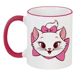 """Кружка с цветной ручкой и ободком """"Мэри Кет"""" - дисней, коты аристократы, marie cat, marie, мери"""