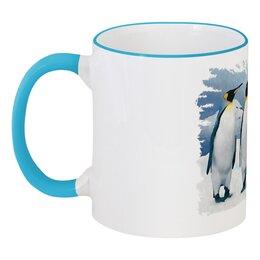 """Кружка с цветной ручкой и ободком """"Три пингвина"""" - птица, снег, акварель, пингвин, антарктида"""