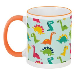 """Кружка с цветной ручкой и ободком """"Динозаврики"""" - животные, динозавры"""