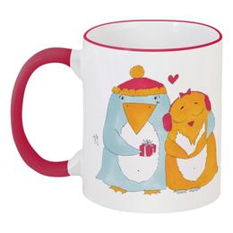 """Кружка с цветной ручкой и ободком """"Влюбленные пингвины"""" - сердце, любимой, пингвин, влюбленные пингвины"""