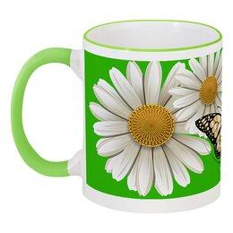 """Кружка с цветной ручкой и ободком """"ЦВЕТЫ. красота природы """" - бабочка, стиль, красота, яркость, ромашки"""