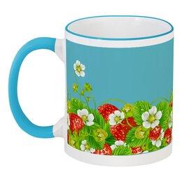 """Кружка с цветной ручкой и ободком """"Земляничная поляна"""" - лето, цветы, ягоды, земляника"""