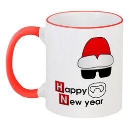 "Кружка с цветной ручкой и ободком ""Happy new year"" - дед мороз, breaking bad, walter white, heisenberg, хайзенберг"