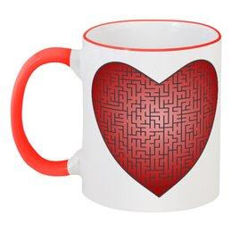 """Кружка с цветной ручкой и ободком """"К любви через лабиринт"""" - любовь, 14 февраля, орнамент, подарок, символ"""