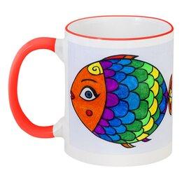 """Кружка с цветной ручкой и ободком """"Рыбка моя"""" - эксклюзив, декор, сказка, рыбы"""