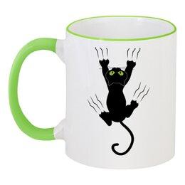 """Кружка с цветной ручкой и ободком """"Прикольный кот"""" - кот, приколы, животные, котенок"""