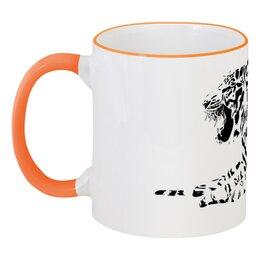 """Кружка с цветной ручкой и ободком """"Силуэт Бенгальского тигра. """" - силуэт, хищник, тигр, животное, бенгальский"""
