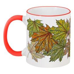 """Кружка с цветной ручкой и ободком """"Золотая осень уронила листья"""" - узор, листья, осень, растения, мехенди"""