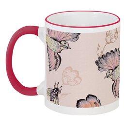 """Кружка с цветной ручкой и ободком """"Птицы и пчёлы"""" - цветы, птицы, природа, пчёлы"""