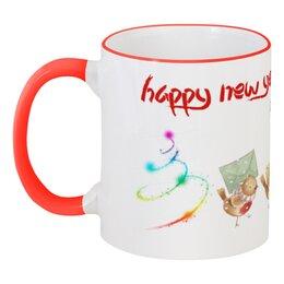 """Кружка с цветной ручкой и ободком """"Счастливого Нового Года"""" - новый год, мишка"""