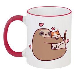 """Кружка с цветной ручкой и ободком """"Ленивец и кот"""" - кот, кошка, дружба, сердечки, ленивец"""