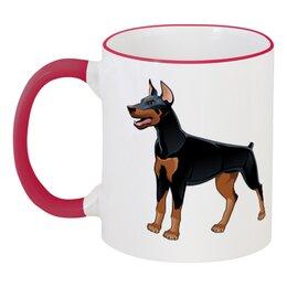 """Кружка с цветной ручкой и ободком """"Доберман"""" - пёс, собака, доберман, год собаки, 2018"""