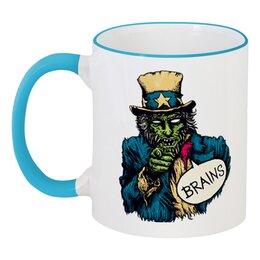 "Кружка с цветной ручкой и ободком ""Зомби"" - мозг, мозги, зомби, zombie"