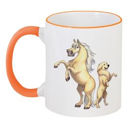 """Кружка с цветной ручкой и ободком """"Соловый пони/Золотистый ретривер"""" - лошадь, собака, пони, подарок, ретривер"""