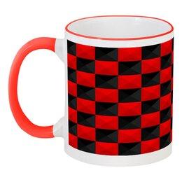 """Кружка с цветной ручкой и ободком """"Красная и Чёрная клетка"""" - дизайн, клетка, красное и чёрное"""