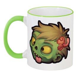 """Кружка с цветной ручкой и ободком """"Зомбик"""" - zombie, зомби, хеллоуин"""