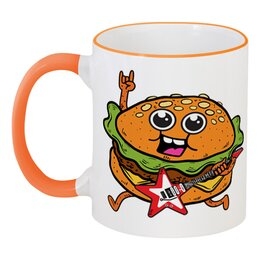 """Кружка с цветной ручкой и ободком """"Гамбургер с гитарой"""" - гитара, гамбургер, бургер"""