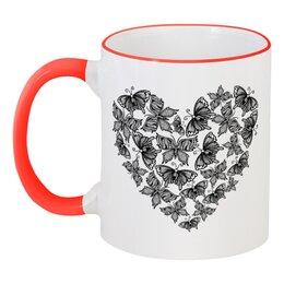 """Кружка с цветной ручкой и ободком """"Сердце из бабочек"""" - сердце, бабочки, любовь, день святого валентина, день влюблённых"""