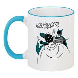 """Кружка с цветной ручкой и ободком """"Бэтмен и Робин"""" - batman, бэтмен, робин, бэтмен и робин"""