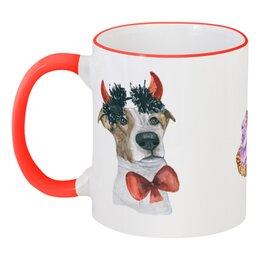 """Кружка с цветной ручкой и ободком """"Джек рассел терьер"""" - красный, собака, хипстер, терьер"""