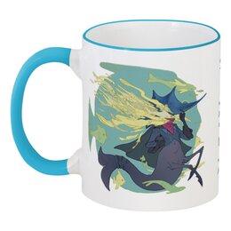 """Кружка с цветной ручкой и ободком """"Знак зодиака Рыбы"""" - знак зодиака рыбы, подарок для рыб, гороскоп рыбы, товары для рыб, символ знака рыбы"""