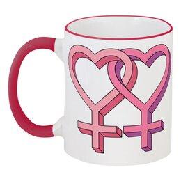 """Кружка с цветной ручкой и ободком """"Любовь девушек"""" - любовь, сердечки, лесби, лесбиянка"""
