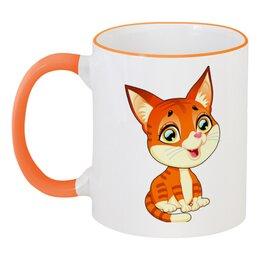 """Кружка с цветной ручкой и ободком """"Котёнок"""" - кот, котёнок, животные"""