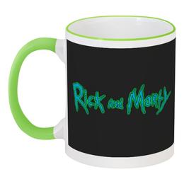"""Кружка с цветной ручкой и ободком """"Рик и морти"""" - рик и морти"""