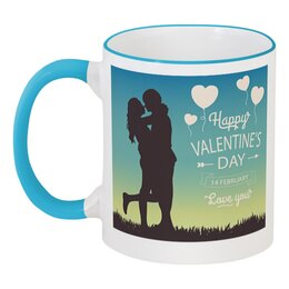 """Кружка с цветной ручкой и ободком """"День влюблённых"""" - любовь, 14 февраля, сердечки, пары, день влюблённых"""