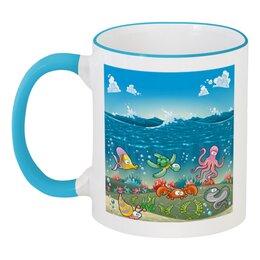 """Кружка с цветной ручкой и ободком """"Обитатели моря"""" - море, кораллы, обитатели моря"""