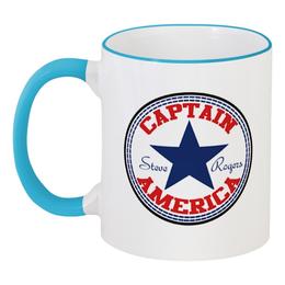 """Кружка с цветной ручкой и ободком """"Капитан Америка"""" - марвел, капитан америка, captain america"""