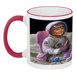"""Кружка с цветной ручкой и ободком """"Маленькая астронавтка """" - космос"""