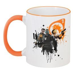 """Кружка с цветной ручкой и ободком """"Оранжевая кружка Half Life 2"""" - оранжевый, orange, valve, кружка, half-life, гражданская оборона, half-life 2, стим, полураспад, гордон фримен"""