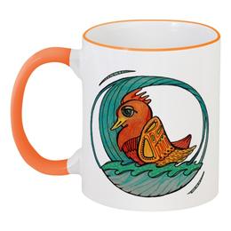 """Кружка с цветной ручкой и ободком """"Умарина"""" - море, в подарок, птичка"""