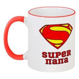 """Кружка с цветной ручкой и ободком """"Супер Папа"""" - супермен, папа, комиксы"""