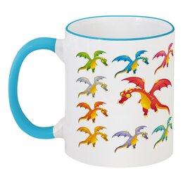 """Кружка с цветной ручкой и ободком """"Динозавры"""" - динозавры, животное"""