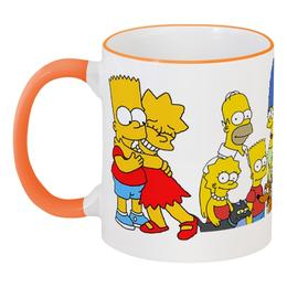 """Кружка с цветной ручкой и ободком """"""""Симпсоны"""""""" - прикольно, прикол, арт, смешные, стиль, популярные, прикольные, в подарок, оригинально, девушке"""