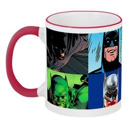 """Кружка с цветной ручкой и ободком """"Batman"""" - комиксы, бэтмен, фэнтези, кинома"""